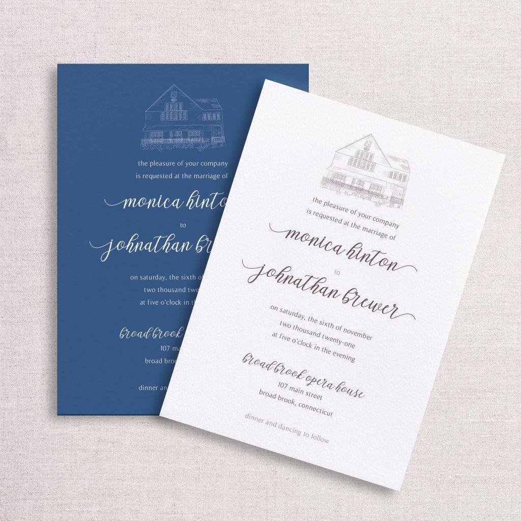 Watercolor floral venue illustration wedding invitation