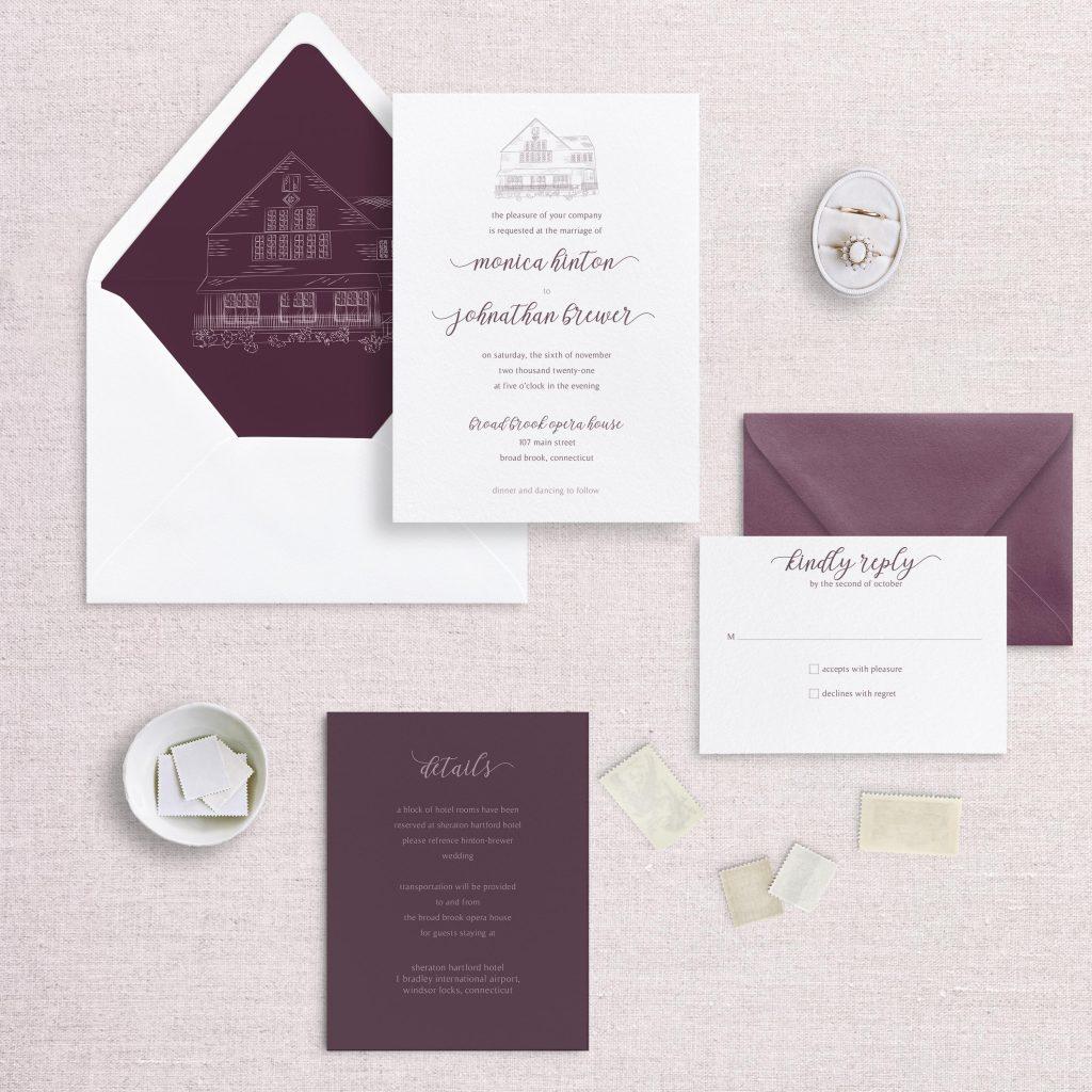 modern venue illustration wedding invitation wedding