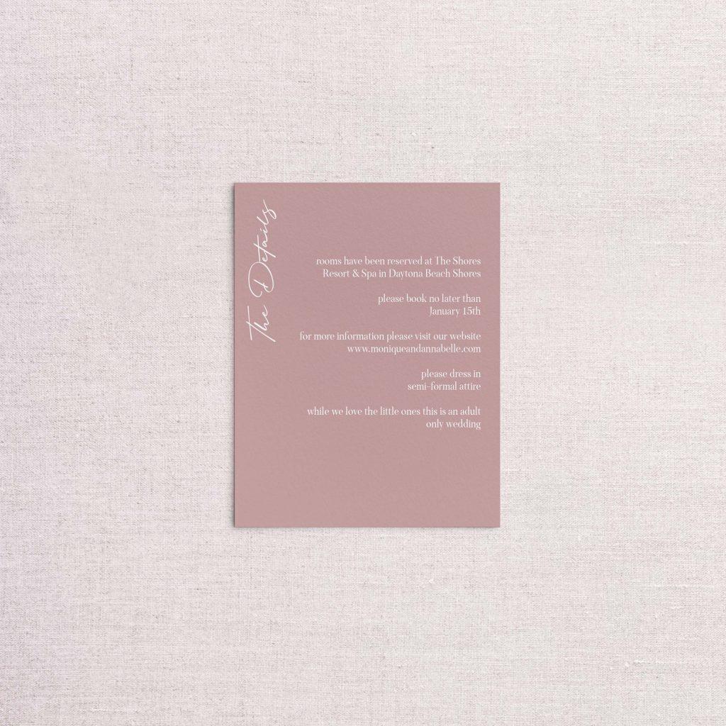 Modern simple minimalist wedding invitation detail card dusty rose