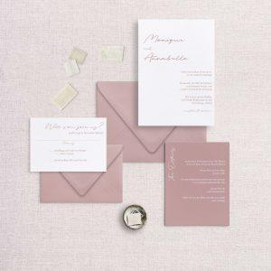 Modern simple minimalist wedding invitation dusty rose