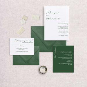 Modern simple minimalist wedding invitation green