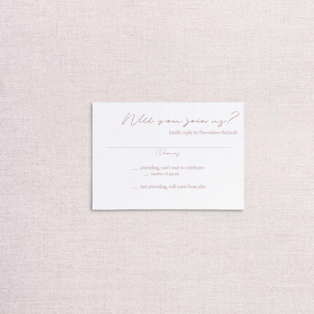 Modern simple minimalist wedding invitation rsvp card