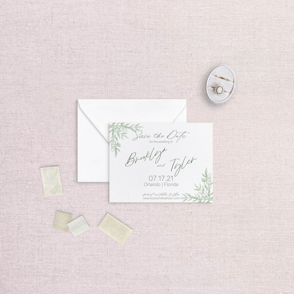 non-photo greenery save the dates