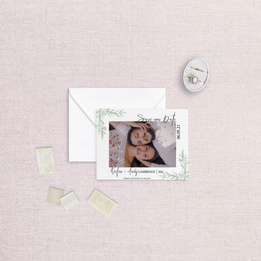 photo save the date with greenery