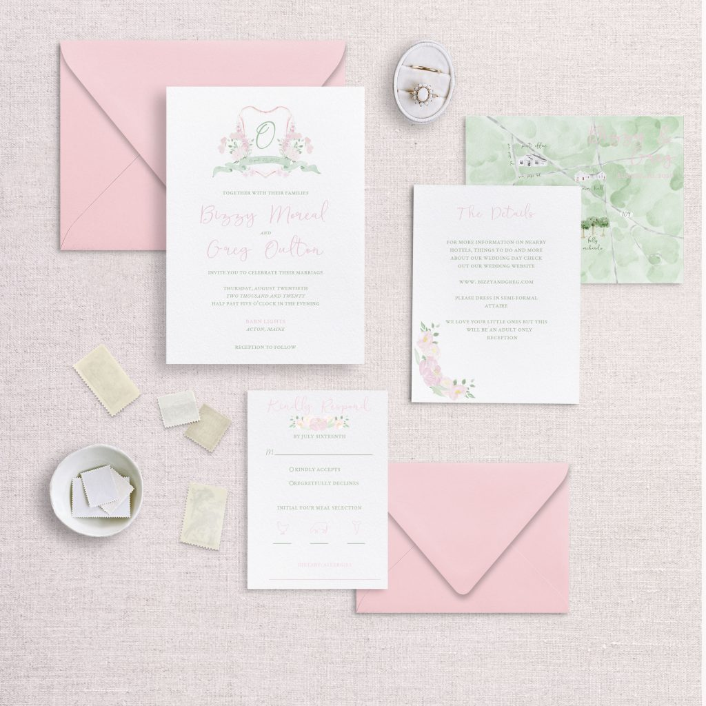 watercolor wedding crest wedding invitations rsvp and detail card pink and green