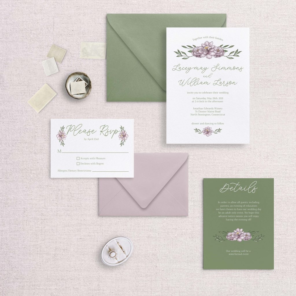 sketchy florals wedding invitations green and pink