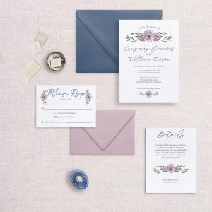 sketchy florals wedding invitations blue and pink