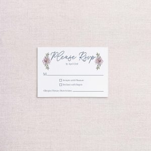 sketchy florals wedding invitations blue and pink RSVP reply card