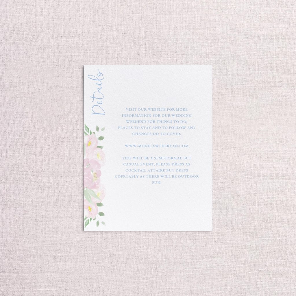 Watercolor floral venue illustration wedding invitation detail card