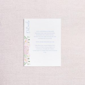 Watercolor floral venue illustration wedding invitation detail card