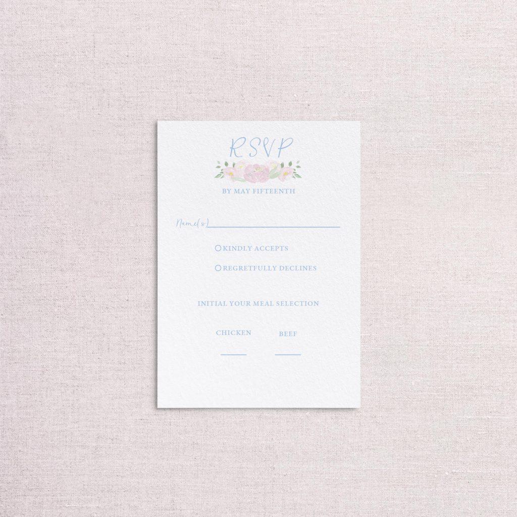 Watercolor floral venue illustration wedding invitation reply card