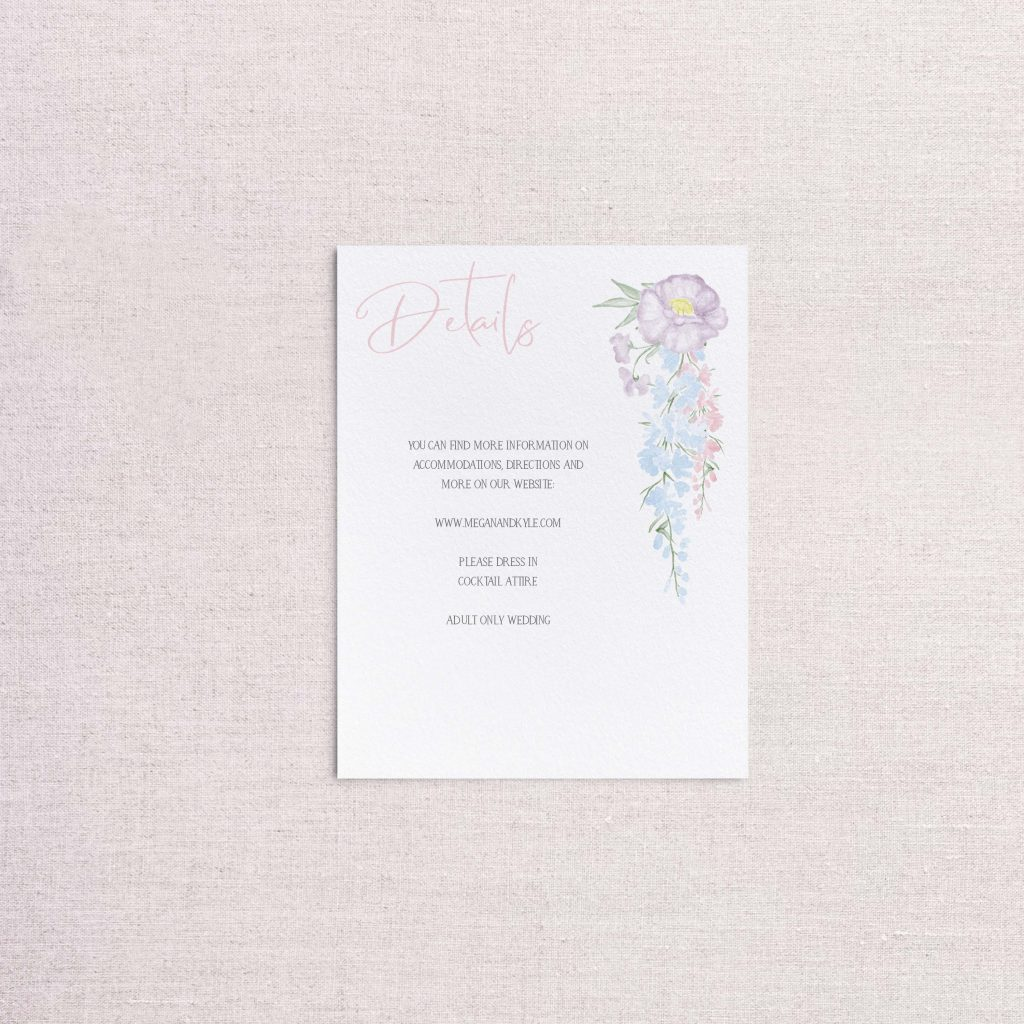 Watercolor Floral wreath pastel floral wedding invitations detail