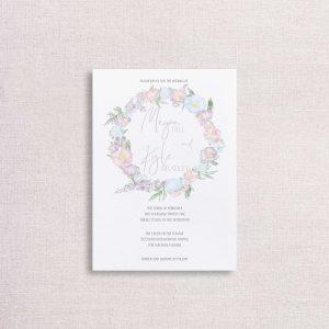 Watercolor Floral wreath pastel floral wedding invitations