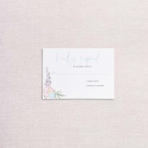 Watercolor Floral wreath pastel floral wedding invitations reply card rsvp