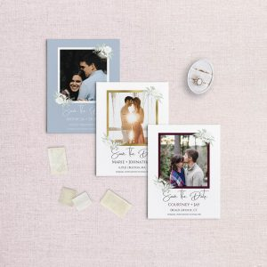 photo save the dates floral and framed photo