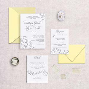 simple elegance wedding invitation letterpress sketchy detail