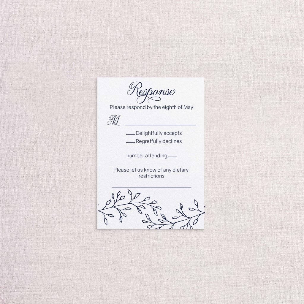 simple elegance wedding invitation letterpress sketchy detail rsvp reply card