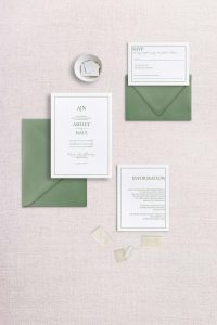 simple monogram wedding invitation