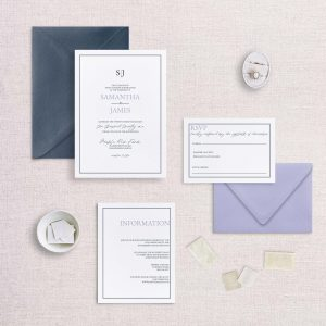 simple monogram wedding invitation navy and lavendar