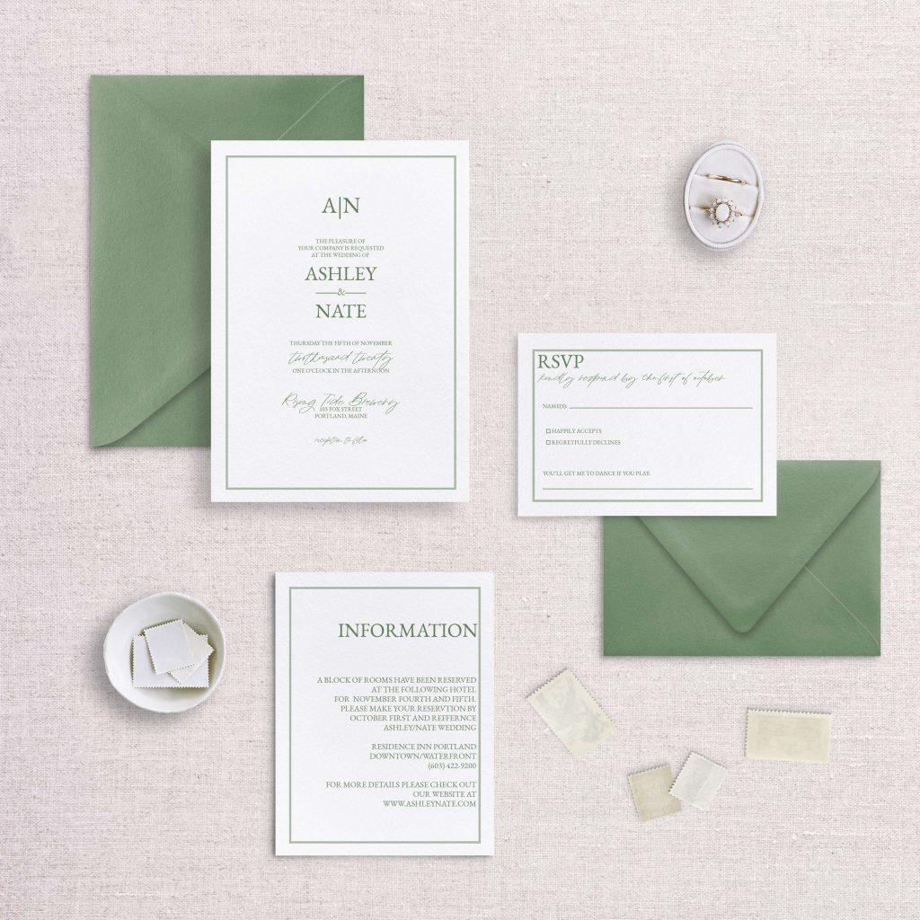simple monogram wedding invitation green