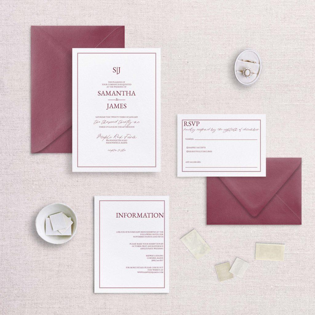 simple monogram wedding invitation burgandy