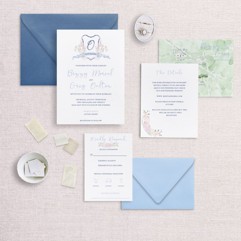 watercolor wedding crest wedding invitations rsvp and detail card