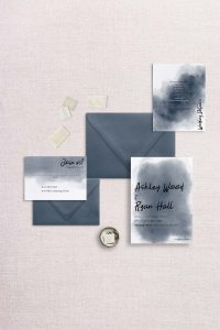 watercolor splash wedding invitation navy