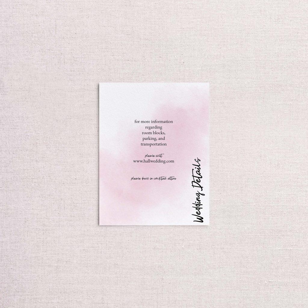 watercolor splash wedding invitation pink detail