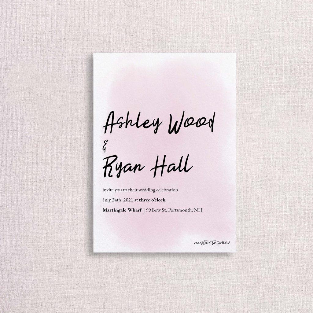 watercolor splash wedding invitation pink