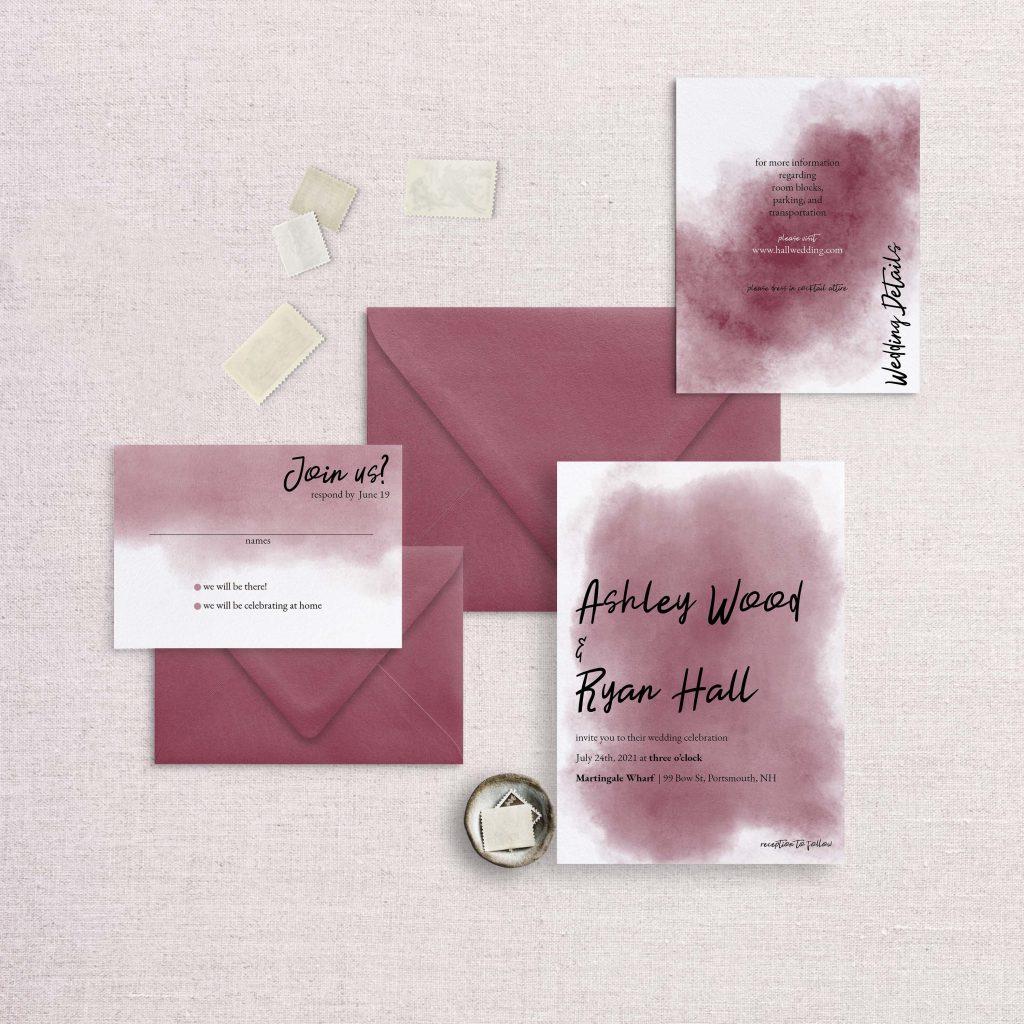 watercolor splash wedding invitation red scarlet
