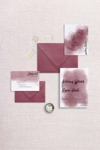 watercolor splash wedding invitation red scarlet