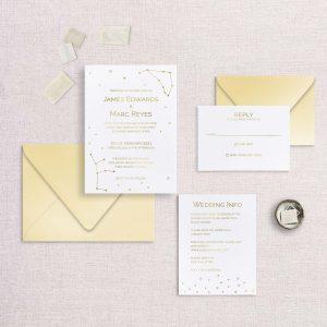 zodiac wedding invitations gold