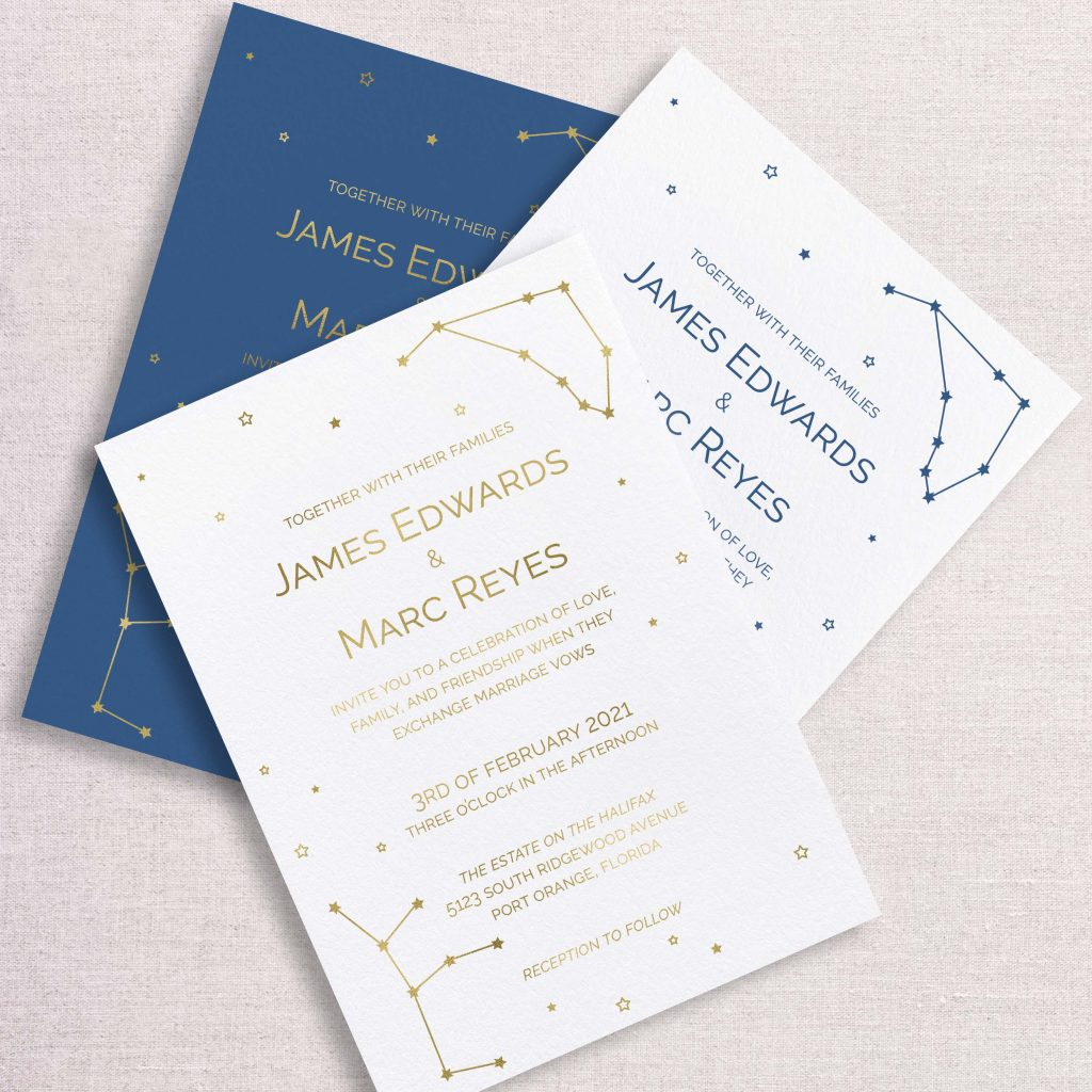 zodiac wedding invitations gold and blue