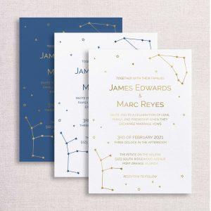 zodiac wedding invitations gold and blue