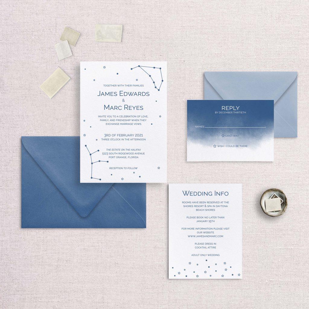 zodiac wedding invitations navy