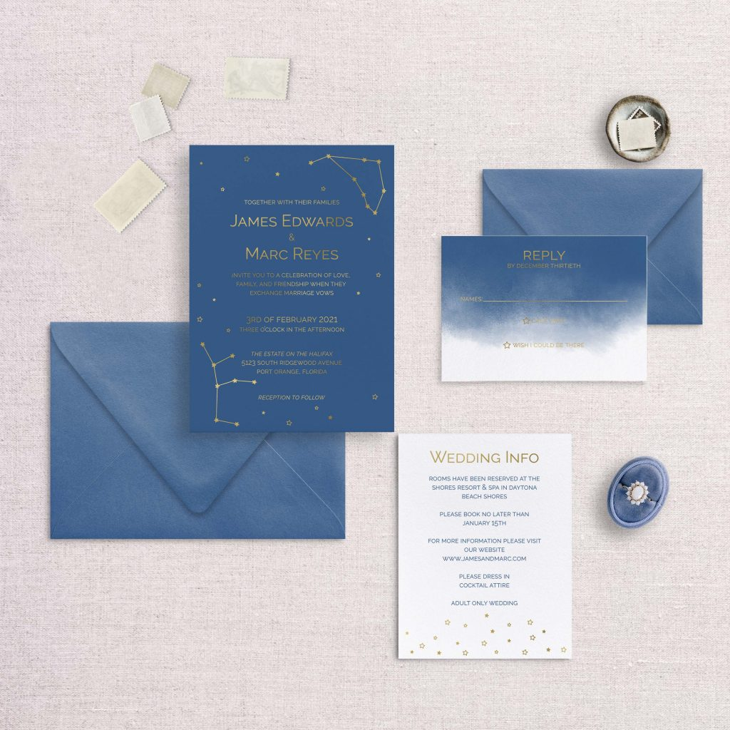 zodiac wedding invitations navy and foil